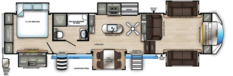 2021 FOREST RIVER SANDPIPER LUXURY 379FLOK Floorplan