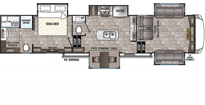 2021 FOREST RIVER CEDAR CREEK SILVERBACK EDITION 37FLB Floorplan