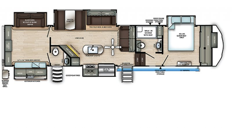 2021 FOREST RIVER SANDPIPER 384QBOK Floorplan