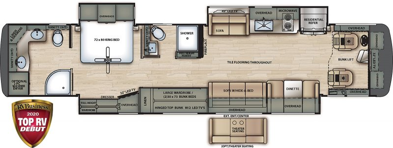 2021 FOREST RIVER BERKSHIRE XLT 45CA Floorplan