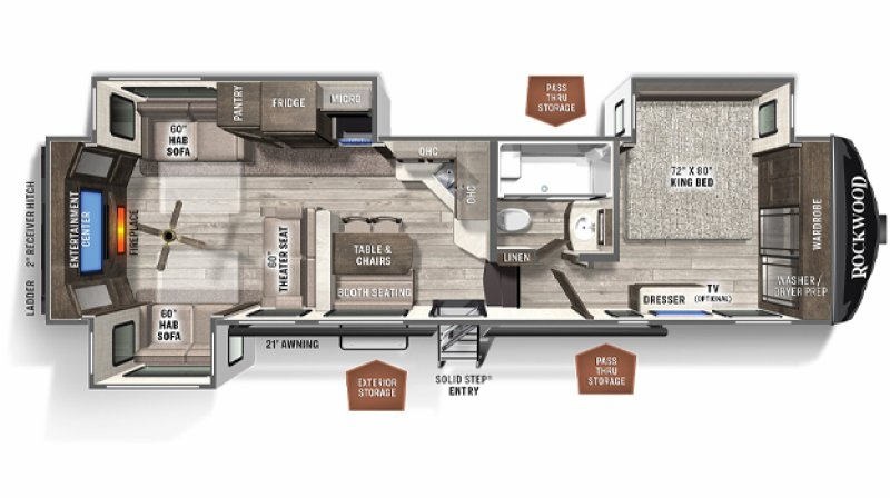 2021 FOREST RIVER ROCKWOOD SIGNATURE ULTRA LITE 8298KS Floorplan
