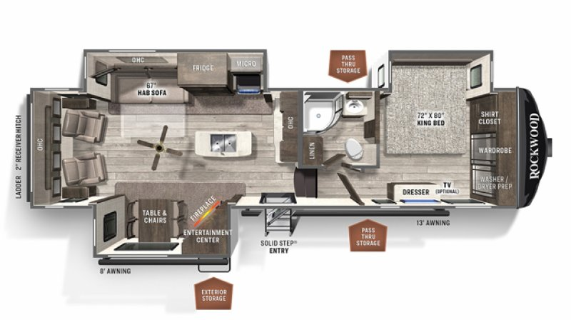 2021 FOREST RIVER ROCKWOOD SIGNATURE ULTRA LITE 8299SB Floorplan