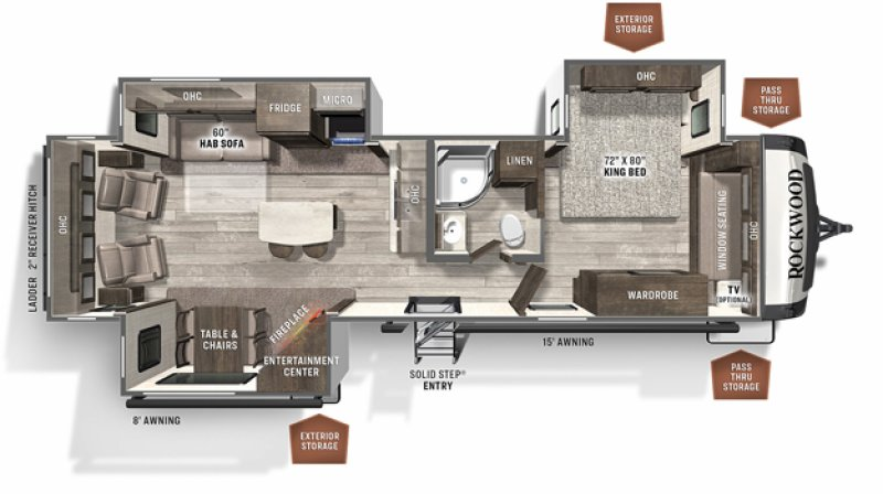 2021 FOREST RIVER ROCKWOOD SIGNATURE ULTRA LITE 8329SB Floorplan