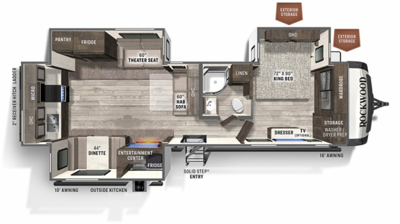 2021 FOREST RIVER ROCKWOOD SIGNATURE ULTRA LITE 8332SB Floorplan