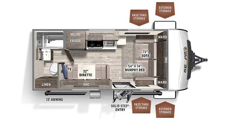 2022 FOREST RIVER ROCKWOOD GEO PRO 19FD Floorplan