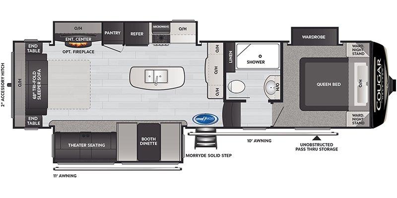 2021 KEYSTONE COUGAR HALF-TON 30RLS Floorplan