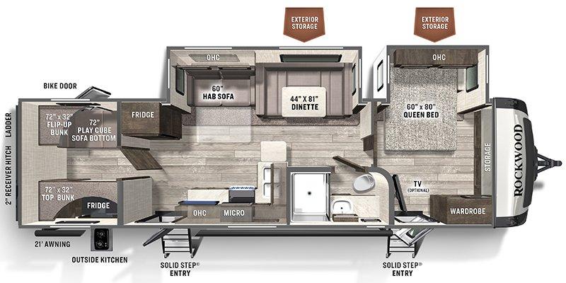 2022 FOREST RIVER ROCKWOOD ULTRA LITE 2911BS Floorplan