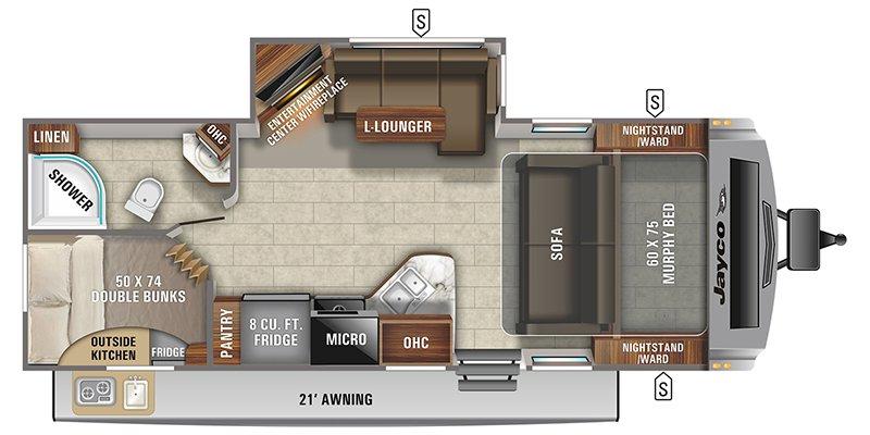 2021 JAYCO WHITE HAWK 24MBH Floorplan