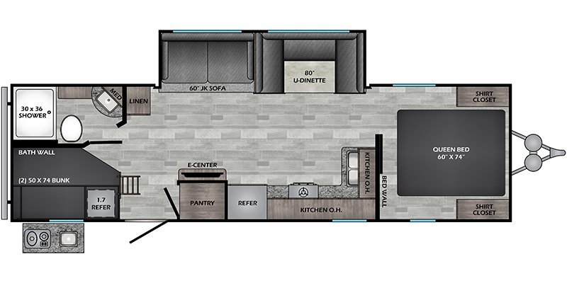 2022 CROSSROADS ZINGER LITE 280BH Floorplan