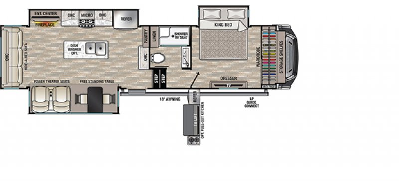 2021 FOREST RIVER CEDAR CREEK 311RL Floorplan