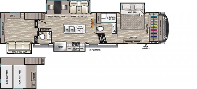 2021 FOREST RIVER CEDAR CREEK 355LF Floorplan