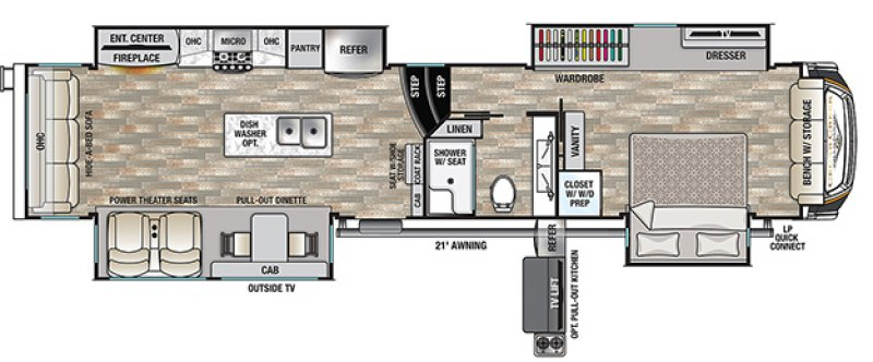 2021 FOREST RIVER CEDAR CREEK CHAMPAGNE EDITION 38EBS Floorplan